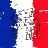 Triumphal arc illustration. Vector french architecture landmark illustration. Arc de Triomphe in Paris on the painted France flag background Stock Photo