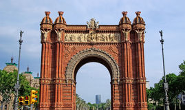 Triumphal arch. Triumphal arch made of brick. Barcelona, Spain Stock Photography
