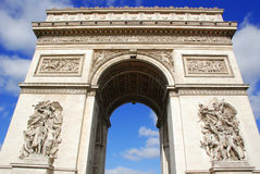 Triumphal arch. In Paris on a sunny day Stock Images