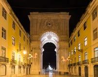 Triumphal Arch along Augusta Street - Lisbon. Augusta Street Triumphal Arch in the Commerce Square, Praca do Comercio or Terreiro do Paco at night in Lisbon Royalty Free Stock Images