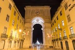 Triumphal Arch along Augusta Street - Lisbon. Augusta Street Triumphal Arch in the Commerce Square, Praca do Comercio or Terreiro do Paco at night in Lisbon Stock Images