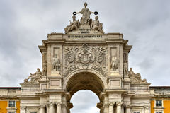 Triumphal Arch along Augusta Street - Lisbon. Augusta Street Triumphal Arch in the Commerce Square, Praca do Comercio or Terreiro do Paco in Lisbon, Portugal Stock Images