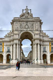 Triumphal Arch along Augusta Street - Lisbon. Lisbon, Portugal - November 25, 2016: Augusta Street Triumphal Arch in the Commerce Square, Praca do Comercio or Stock Images