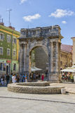 Triumphal arch of antique era in Pula Royalty Free Stock Photo