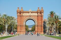 Triumphal arch - Barcelona. The Triumphal arch Arc de Triomf or Arco de Triunfo was built as the main access gate for the 1888 World Fair - Barcelona, Catalonia Royalty Free Stock Images