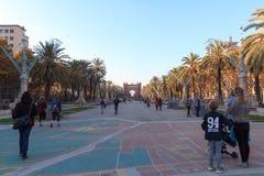 Triumphal arch Arc de Triomf and promenade Passeig de Lluis Companys in Barcelona Royalty Free Stock Photography