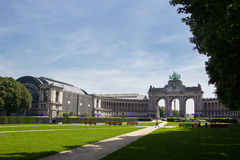 The Triumphal Arch or Arc de Triomphe in Brussels, Belgium. The Triumphal Arch in Cinquantenaire Parc in Brussels, Belgium in summer Stock Photos
