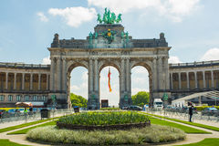 The Triumphal Arch (Arc de Triomphe) in the Cinquantenaire park in Brussels, Belgium. The Triumphal Arch (Arc de Triomphe) in the Cinquantenaire park in Brussels Royalty Free Stock Images