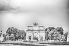Triumphal Arch Arc de Triomphe du Carrousel. Paris, France-June 1, 2016 : Triumphal Arch Arc de Triomphe du Carrousel at Tuileries gardens in Paris, France Stock Image