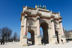 Tuileries. Triumphal Arch (Arc de Triomphe du Carrousel) at Tuileries gardens in Paris, France on March 7,2011. This monument was built between 1806-1808 to Royalty Free Stock Photos