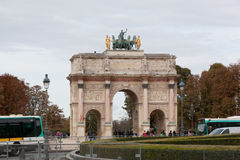 Triumphal Arch (Arc de Triomphe du Carrousel). At Tuileries gardens in Paris,France, October 02,2012. The monument was built between 1806-1808 to commemorate Stock Images