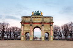 Triumphal Arch (Arc de Triomphe du Carrousel) at Tuileries.Paris.  Royalty Free Stock Photography
