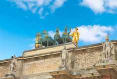 Triumphal Arch (Arc de Triomphe du Carrousel) at Tuileries. Royalty Free Stock Image