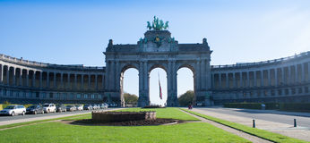 Triumphal arch Arcade du Cinquantenaire Royalty Free Stock Photo