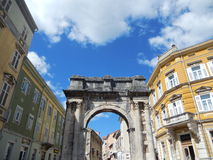 TRIUMPHAL ARCH (ARCH OF THE SERGII), PULA, CROATIA Stock Images