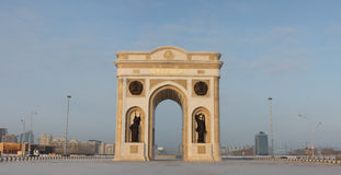 Triumphal arch in Astana, Kazakhstan. Triumphal arch and the central part of the city in Astana, Kazakhstan Royalty Free Stock Photography
