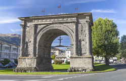 Triumphal arch of Augustus in Aosta. Mighty symbol in Aosta, Triumphal arch of Augustus, Italy Stock Images