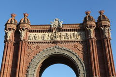 Triumphal arch in barcelona. With red bricks Royalty Free Stock Photo