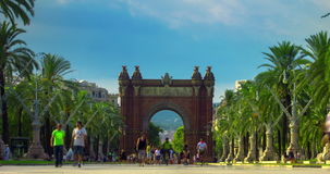 Triumphal arch Barcelona. City landscape. Time lapse of triumph arc in Barcelona. Old european architecture. Famous monument at city square. Travel destination stock video