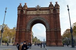 Triumphal Arch, Barcelona. BARCELONA - 10 DECEMBER 2018: The Arc de Triomf Triumphal Arch built by Casanovas as the main entrance to the 1888 Word Fair across Stock Photography