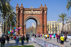 Triumphal arch in Barcelona, Spain. Barcelona, Spain - March 03, 2016: Triumphal arch. The Arc de Triomf was built as the gateway to Parc de la Ciutadella. It Royalty Free Stock Photography