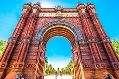 Triumphal Arch in Barcelona, Spain. Summer and clear blue sky Royalty Free Stock Image
