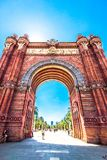 Triumphal Arch in Barcelona, Spain. Summer and clear blue sky Stock Photography
