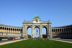 The Triumphal Arch in Brussels. The Triumphal Arch (Arc de Triomphe) in the Cinquantenaire park in Brussels. Built in 1880 for the 50th anniversary of Belgium Royalty Free Stock Images