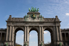 The Triumphal Arch in Brussels. The Triumphal Arch (Arc de Triomphe) in the Cinquantenaire park in Brussels. Built in 1880 for the 50th anniversary of Belgium Stock Photography