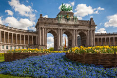 Triumphal Arch, Brussels , Belgium. The Triumphal Arch in Cinquantennaire Parc in Brussels , Belgium royalty free stock images