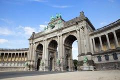 Triumphal arch Brussels. Triumphal arch in the Parc du Cinquantenaire, Brussels, Belgium Royalty Free Stock Image