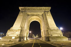 Triumphal arch in Bucharest. Wide view night scene of Triumphal arch in Bucharest, Romania Royalty Free Stock Images
