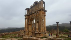 Triumphal arch of caracalla. The arch of triumph was erected in 216, in honor of the emperor Caracalla Stock Photos