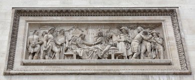 Triumphal arch on the Champs Elysees.Bas-relief. Paris; France- May 01; 2017: Triumphal arch on the Champs Elysees.Bas-relief `The funeral of General Marceau stock photo