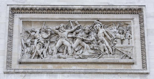 Triumphal arch on the Champs Elysees.Bas-relief, symbolizing its. Paris; France- May 01; 2017: Triumphal arch on the Champs Elysees.Bas-relief, symbolizing stock image