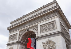 Triumphal arch on the Champs Elysees. Paris; France- May 01; 2017: Triumphal arch on the Champs Elysees Royalty Free Stock Image