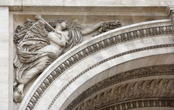 Triumphal arch on the Champs Elysees.Sculpture decoration. Paris; France- May 01; 2017: Triumphal arch on the Champs Elysees.Sculpture decoration royalty free stock image