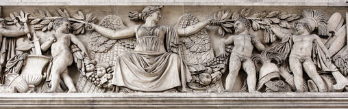 Triumphal arch on the Champs Elysees.Sculpture decoration. Paris; France- May 01; 2017: Triumphal arch on the Champs Elysees.Sculpture decoration stock photography