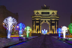 Triumphal arch in Christmas, Moscow Stock Photos