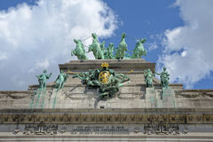 Triumphal Arch in Cinquantenaire Parc in Brussels, Belgium Royalty Free Stock Image