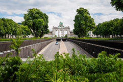 The Triumphal Arch in Cinquantenaire Parc in Brussels, Belgium w Royalty Free Stock Photos