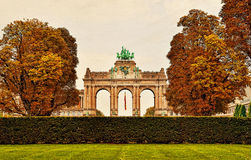 Triumphal Arch in Cinquantenaire Parc in Brussels Royalty Free Stock Images