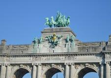 Triumphal arch in Cinquantenaire Park, Brussel, Belgium Jubelpark, Jubilee Park royalty free stock image
