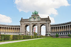 Triumphal Arch in Cinquantenaire Park in Brussels Stock Photo
