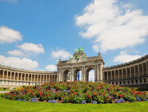 Triumphal Arch in Cinquantennaire Park Royalty Free Stock Photo