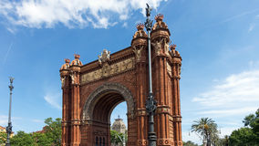 Triumphal arch in the city of Barcelona. In Catalonia Stock Images