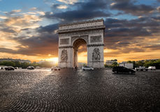 Triumphal Arch and clouds Royalty Free Stock Image
