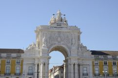 Triumphal arch  in Commerce Square. Libon, Portugal Royalty Free Stock Image