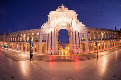 Triumphal arch at Commerce Square. Lisbon, Portugal Stock Photo