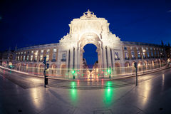 Triumphal arch at Commerce Square. Lisbon, Portugal Stock Images